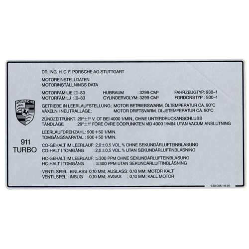 Turbo Emissions Decal, Euro