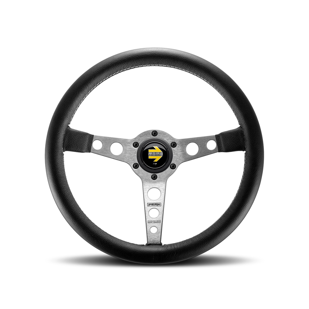 Momo Prototipo Silver W/Black leather Steering Wheel