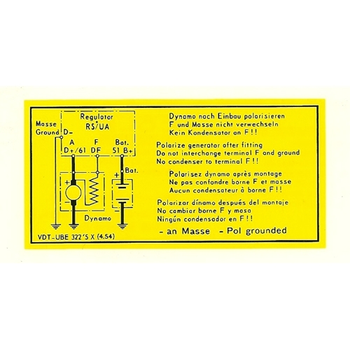 Voltage Regulator Wiring Decal