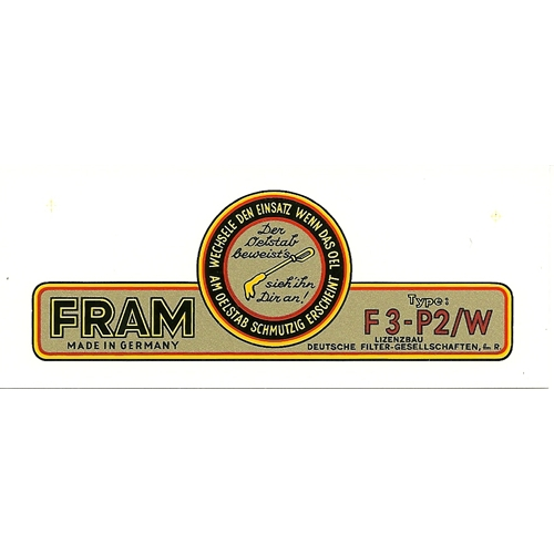 Fram Filter Decal, Canister