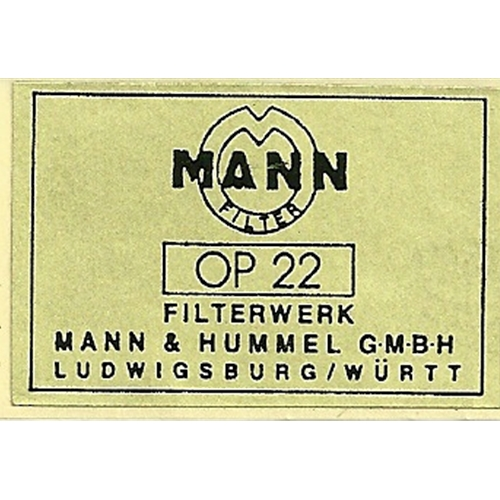 Decal Mann Oil FilterOP22