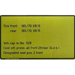 Decal, Tire Pressure 1976 Models